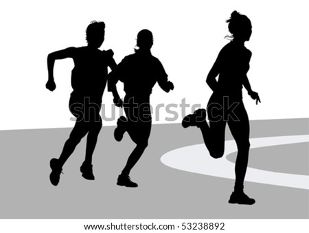Vector drawing running athletes women on competition - stock vector
