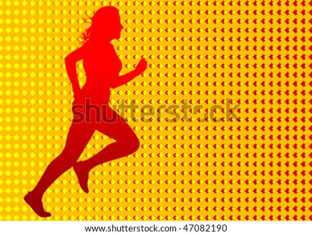 Vector drawing  running women. Silhouettes on an color background - stock vector