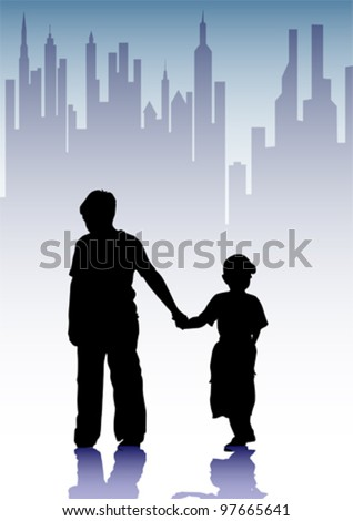 Vector drawing silhouette childrens in city - stock vector