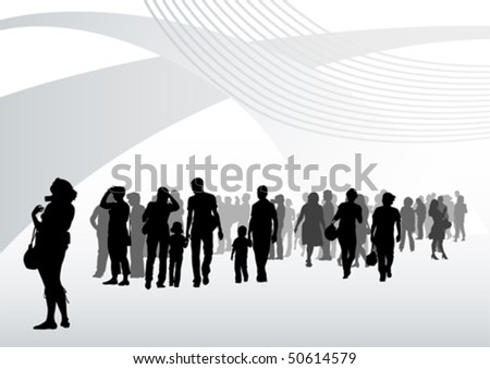 Vector drawing silhouette crowds in interior - stock vector