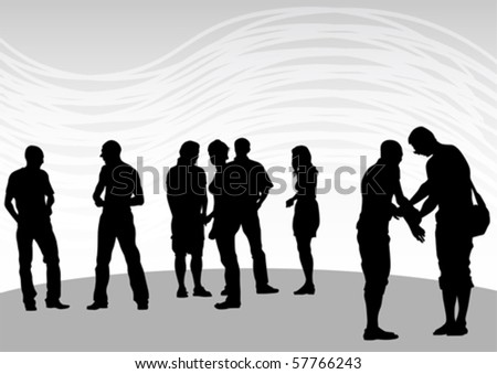 Vector drawing silhouette crowds man and women - stock vector