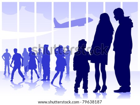 Vector drawing silhouette crowds man and women