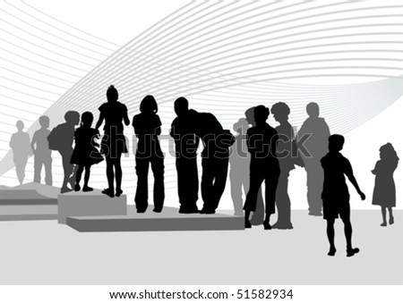 Vector drawing silhouette crowds on street