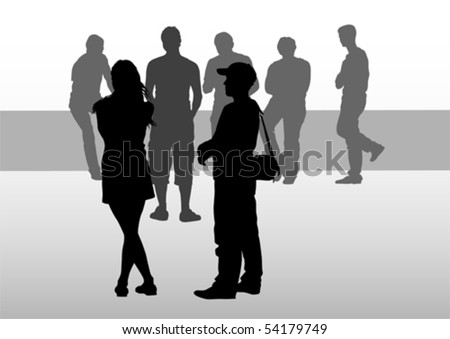 Vector drawing silhouette crowds on street - stock vector
