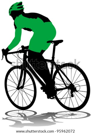 Vector drawing silhouette of a cyclist boy - stock vector