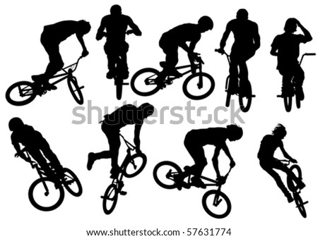 Vector drawing silhouette of a cyclist boy and girl. Silhouette of people