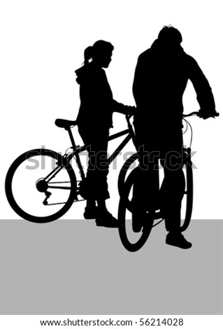 Vector drawing silhouette of a cyclist boy and girl. Silhouette on white background - stock vector