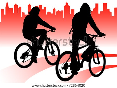 Vector drawing silhouette of a cyclist boy in city - stock vector