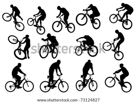 Vector drawing silhouette of a cyclist boy. Silhouette of people