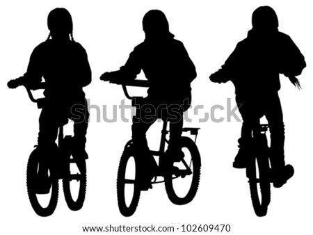 Vector drawing silhouette of a cyclist girl. Silhouette of people