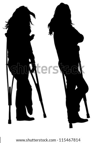 Vector drawing silhouette of a young woman on crutches - stock vector