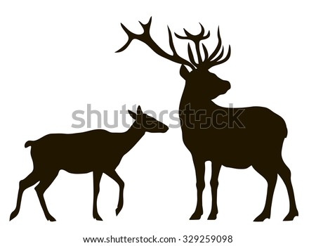 vector drawing silhouettes couples deer