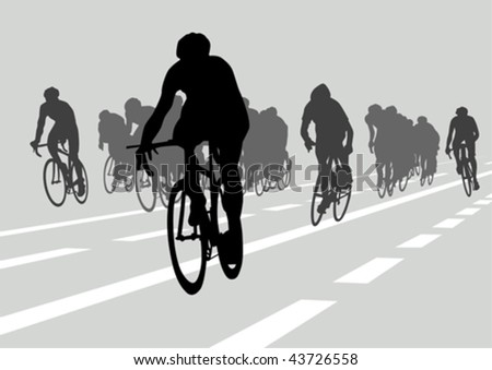Vector drawing silhouettes cyclists in competition - stock vector