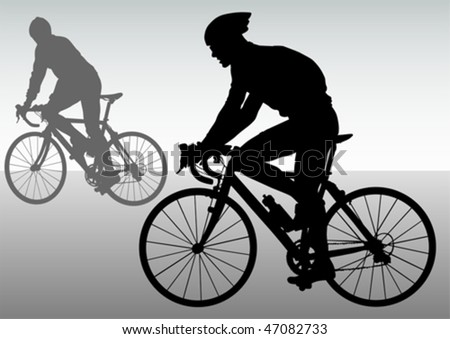 Vector drawing silhouettes cyclists in competition