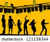 Vector drawing silhouettes of actors on stage - stock vector