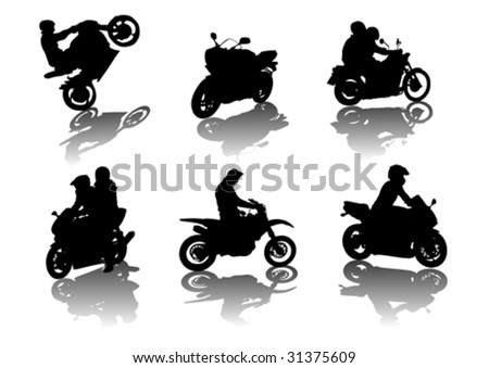 vector drawing silhouettes road motorcycles on a white background - stock vector