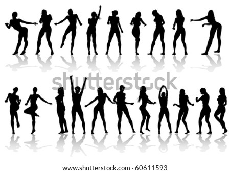 Vector drawing slim and beautiful girls. Silhouette of people