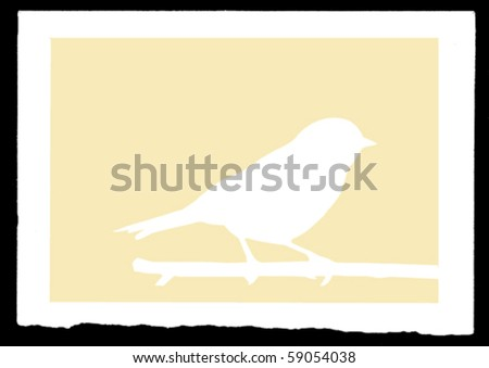 vector drawing sparrow on branch - stock vector