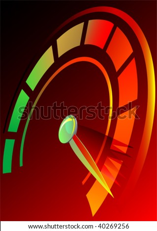 Vector drawing speedometer panel of the car. Symbol rate - stock vector