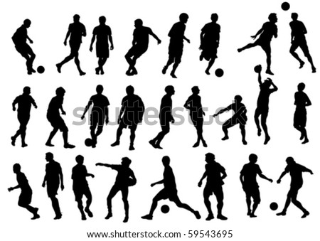 Vector drawing sports football team. Silhouettes on white background