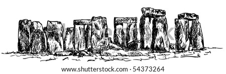 vector - drawing stonehenge isolated on background - stock vector