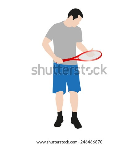 Vector drawing tennis players - stock vector