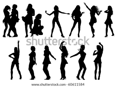 Vector drawing the female body in various poses - stock vector