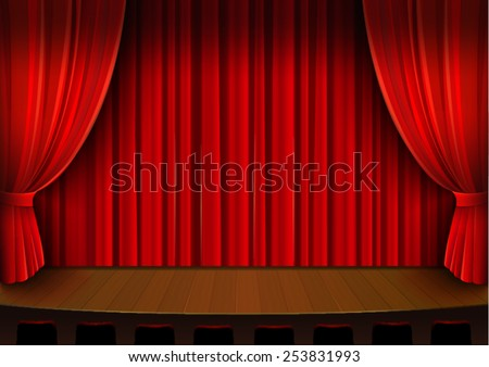 Vector Drawing Theater Stage With Red Curtain