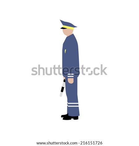 Vector Drawing Traffic Officer Uniform Gesture Stock Vector ...