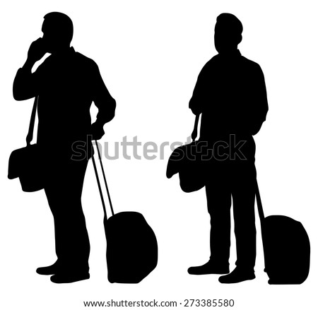 Vector drawing travelers with suitcases. Silhouettes on white background - stock vector
