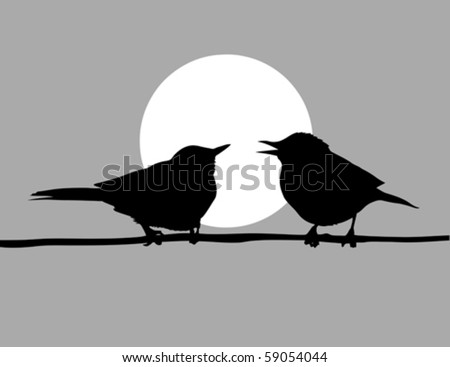 vector drawing two birds  on solar background - stock vector