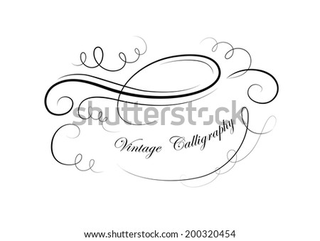 Vector drawing with calligraphic design elements. Space for your text.