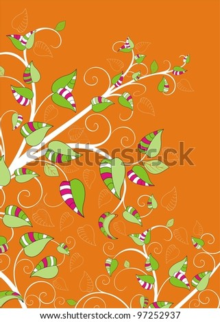 vector drawing with tree branches - stock vector