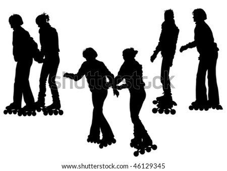 Vector drawing women athletes on skates. Silhouette on white background