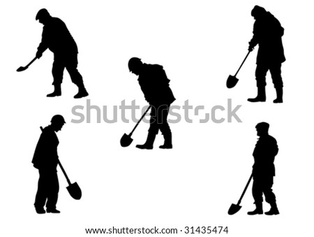 Vector drawing working with shovels. Silhouette on white background - stock vector