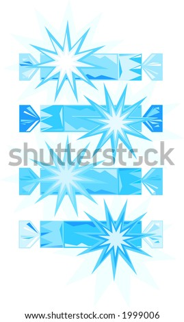 Vector drawings of traditional English Christmas crackers or party crackers.Illustrator EPS - stock vector