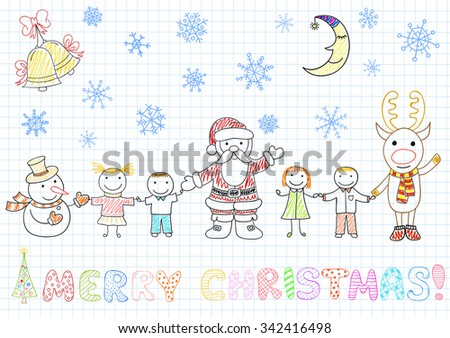Vector drawings - Santa Claus and children. Sketch on notebook page in doodle style - stock vector
