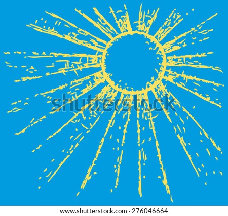 Vector drawn backdrop in doodle style. Radiant heat bright yellow sun on deep blue sky glaring at its zenith with space for text - stock vector
