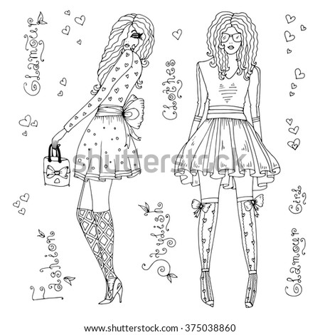 Vector drawn glamorous girls in fashionable clothes: blouse, skirt, stockings, shoes. Original hand drawn inscription glamour, clothes, fashion, stylish, glamorous girl. On a white background  - stock vector
