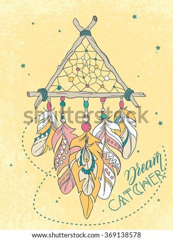 Vector Dreamcatcher Amulet. Ethnic illustration, tribal - stock vector