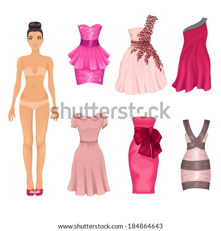 Vector dress-up doll with an assortment of pink prom and coctail dresses