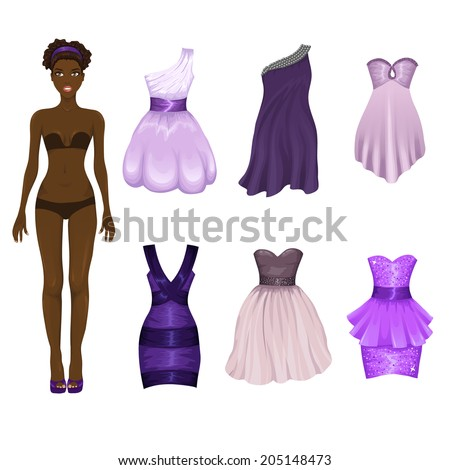 Vector dress-up doll with an assortment of purple prom and cocktail dresses