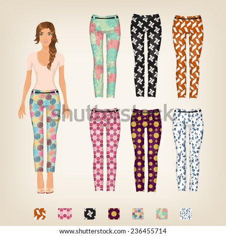 Vector dress up paper doll with an assortment of patterned pants - stock vector