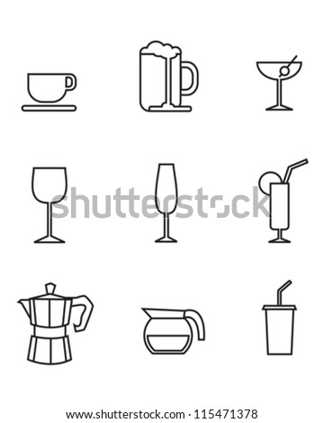 Vector drink symbols and icons.
