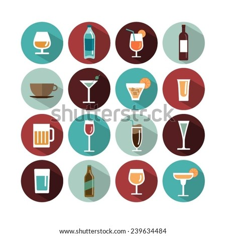 vector drinks icons - stock vector
