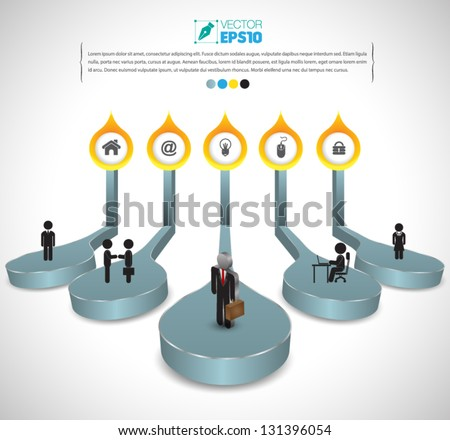 Vector drops 3d for business concepts with  icons / can use for info-graphic / loop business report or plan / modern template / education template / business brochure /  system diagram - stock vector