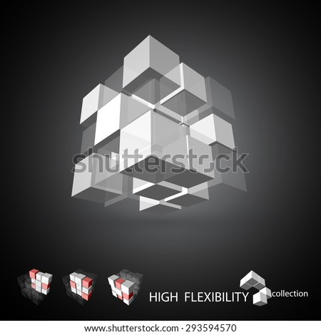 Vector, 3Ds cubic pattern,  EPS files with high flexibility. You can create your own by remove some block out. - stock vector
