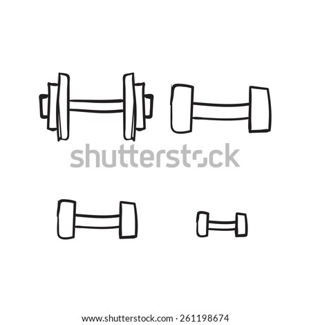 vector dumbbell sketch. hand drawn iron on a white background - stock vector