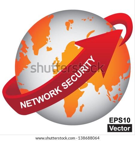 Vector : E-Commerce, Internet, Online Marketing, Online Business or Technology Concept Present By Orange Earth With Red Network Security Arrow Around  Isolated on White Background - stock vector