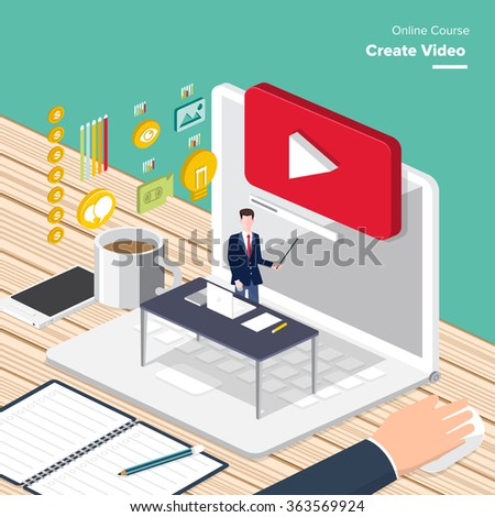 Vector e-learning concept in flat style - digital content and online webinar how to make money with video. - stock vector
